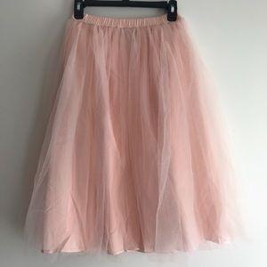 Peach Tulle Midi Skirt Size Small